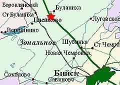 Карта с указанием места катастрофы, с официального сайта Алтайской администрации