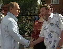 Владимир Путин в гостях у Михаила Евдокимова летом 2003 года. Кадр НТВ, архив