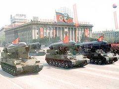 Северокорейские ракеты на военном параде в Пхеньяне. Фото AFP