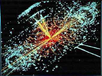Рождение гипотетической частицы - бозона Хиггса - в Большом адронном коллайдере. Рисунок с сайта cern.ch.