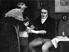 Эдвард Дженнер проводит вакцинацию детей. Изображение с сайта vaclib.org