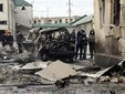 Место взрыва на базе ДПС в Махачкале. Фото (c)AFP