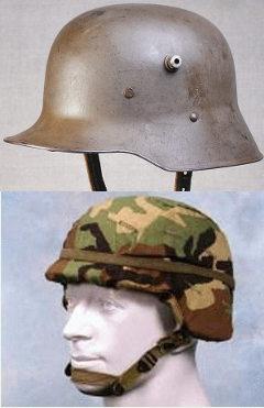 Немецкая каска образца 1916 года (сверху) и американская PASGT (снизу). Изображения с сайтов battlefront.ru и fas.org