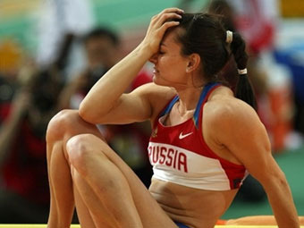 Елена Исинбаева после неудачи на чемпионате мира в Дохе. Фото  ©AFP