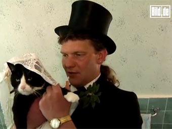 Уве Митцшерлих со своей кошкой. Кадр видеозаписи с сайта Bild