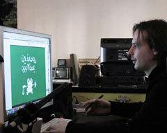 Егор Жгун - дизайнер Студии Артемия Лебедева и известный блогер. Жил в Красноярске, переехал в Москву. Рисует мультики и кинопостеры - пародии на киноафиши. Фото Николая Данилова