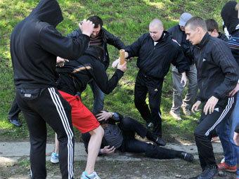 Во время беспорядков во Львове 9 мая. Фото ©AP
