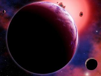 Сверхземля GJ 1214b и две ее луны на фоне материнской звезды глазами художника. Изображение CfA/David Aguilar