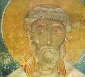 Петр Александрийский, фреска из храма Спаса Преображения на Нередице. Фото с сайта Новгородского музея