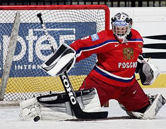 Вратарь сборной России Максим Соколов. Фото с официального сайта ИИХФ