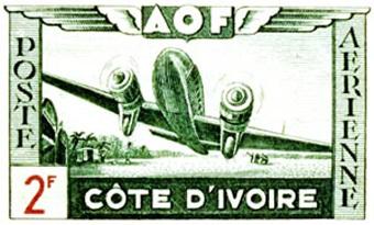 "Почтовая марка ""Авиация Кот-д'Ивуара"". Иллюстрация с сайта goingpostal.cc/Aviationt-shirts."