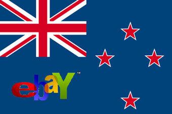 Логотип аукциона eBay на фоне флага Новой Зеландии. Коллаж Lenta.Ru
