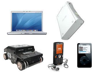 Xbox 360, iPod, Mac Book Pro, Sony Ericsson W810i и Zero Gravity Wall Climber. Коллаж Ленты.Ру