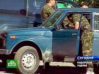 Грузинские военные в Кодорском ущелье. Кадр телеканала НТВ.