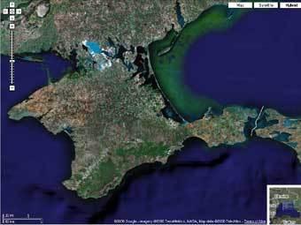 Полуостров Крым. Спутниковый снимок с сайта Google Maps