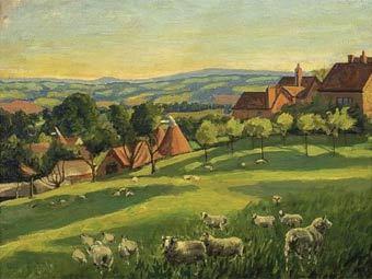 """Фрагмент """"Пейзажа с овцами"""" Уинстона Черчилля. Репродукция с сайта Sotheby's"""