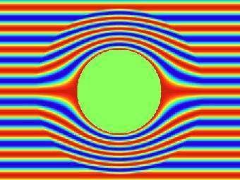"""Компьютерная модель: звуковые волны обтекают сферическую """"шапку-невидимку"""" без искажений. Изображение университета Дьюка."""