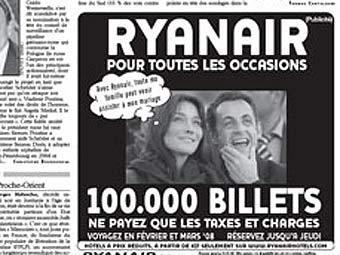 Реклама билетов Ryanair на страницах Le Parisien. Фото с сайта leparisien.com