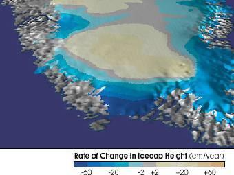 Фрагмент гренландского ледникового щита: скорость изменения высоты. Изображение правительства США, воспроизведенное Wikimedia Commons.