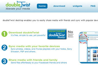Скриншот сайта Doubletwist.com