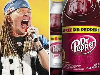 Аксель Роуз (фото AFP) и напитки Dr. Pepper (фото пресс-службы компании)