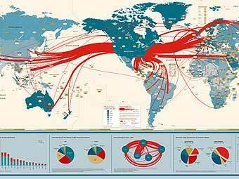 Карта мирового интернет-траффика с сайта fujitawork.com