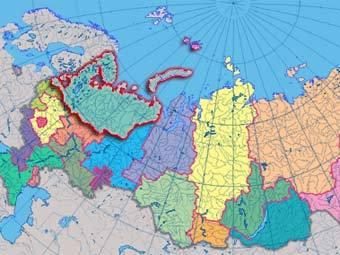 Фрагмент интерактивной карты России с сайта Роскартографии