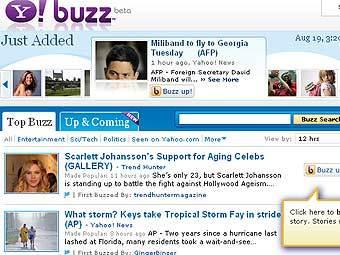 Главная страница Yahoo! Buzz