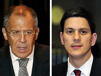 Сергей Лавров и Дэвид Милибэнд. Фотографии AFP
