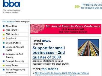 Скриншот сайта Британской ассоциации банкиров