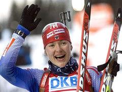 Лидер женской сборной России по биатлону Екатерина Юрьева. Фото (c)AFP