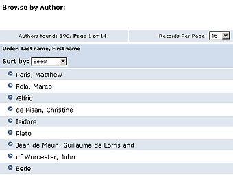 Скриншот поисковой страницы Catalogue of Digitized Medieval Manuscripts