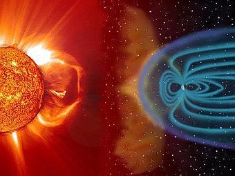 Магнитосфера Земли под воздействием солнечного ветра. Иллюстрация NASA