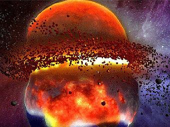 Столкновение двух планет. Иллюстрация NASA