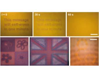 """Изображения, выполненные ультрафиолетовой """"ручкой"""" на новом материале. Фото с сайта rsc.org"""