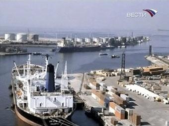 """Вид на порт Риги. Кадр телеканала """"Вести 24"""""""