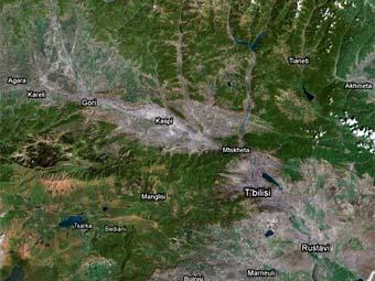 Спутниковый снимок Грузии с сайта Google Maps