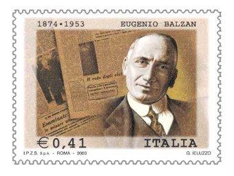 Почтовая марка в честь Эудженио Бальцана. Иллюстрация с сайта comunicazioni.it