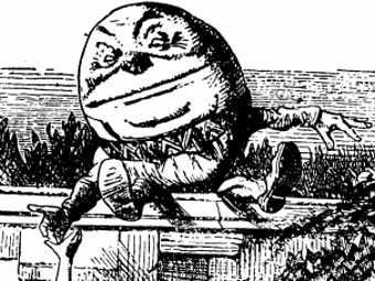 """Шалтай-Болтай на рисуннке Джона Тенниела к """"Алисе в Зазеркалье"""". Фрагмент иллюстрации с сайта quackometer.net"""