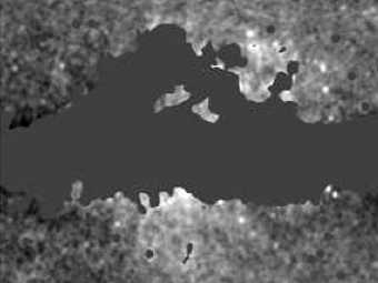 """Микроволновая """"дымка"""" в центр Млечного Пути. Изображение WMAP"""