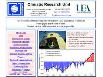 Скриншот сайта Центра по изучению климата Университета Восточной Англии