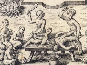 """Фрагмент гравюры XVII века """"Поклонение дьяволу и каннибализм в Южной Америке"""""""