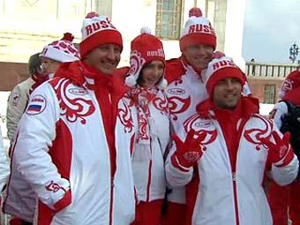 Спортсмены сборной России. Кадр телеканала
