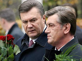 Виктор Янукович и Виктор Ющенко. Архивное фото ©AFP