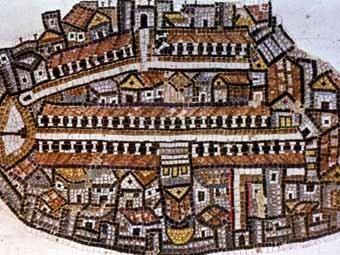 Иерусалим на Мадабской карте Святой земли. Фото Israel Antiques Authority