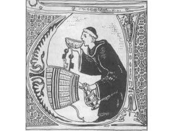 Монах тайком пьет вино в монастырском погребе. Миниатюра XIII века
