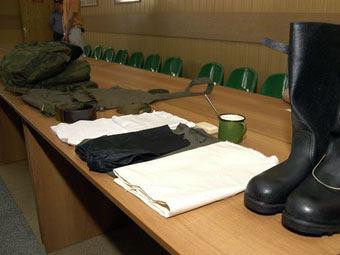 Экипировка и обмундирование призывника. Фото пресс-службы Минобороны РФ