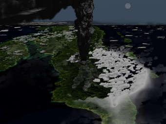 Извержение вулкана Тоба глазами художника. Изображение пользователя Anynobody с сайта wikipedia.org