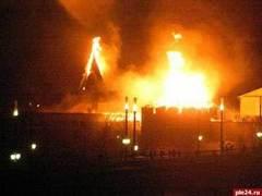 Пожар уничтожил шатры башен Псковского кремля