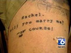 Житель Сан-Диего позвал возлюбленную замуж татуировкой